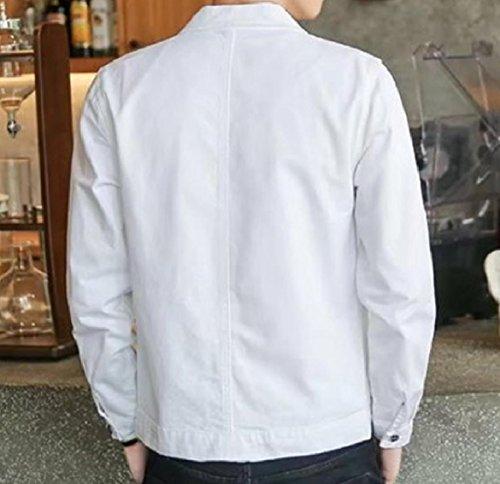 Di Solido Bianco Denim Howme Cappotto Base Giacca Gira Pulsante Stile Jeans men Di Giù gAvwYg