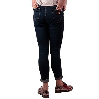 Primtex Jean femme troué aux genoux bleu brut taille haute   stretch avec  ourlets amovibles-42  Amazon.fr  Vêtements et accessoires e3afbf3e4c2f