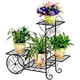 HZB Iron Flower Shelf, Multi-Storey Indoor Floor Type Flower Rack, Black European Living Room Balcony, Green Rose Flower Rack. (Size : M682467cm)