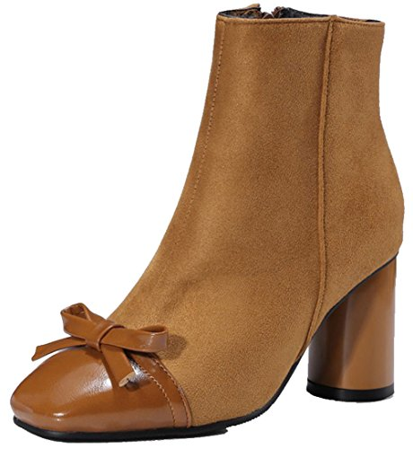 Easemax Mujeres Trendy Frostted Stitching Bows Square Toe Mid Chunky Tacón Lateral Cremallera Botines Marrón