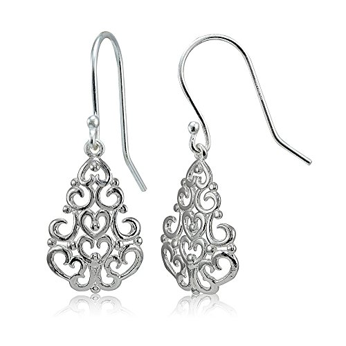 Sterling Silver High Polished Chandelier Filigree Dangle ()