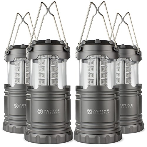 Price comparison product image Active Research Water Resistant LED Lantern Portable 30 LED Flashlight, Battery Powered, (Pack of 4)