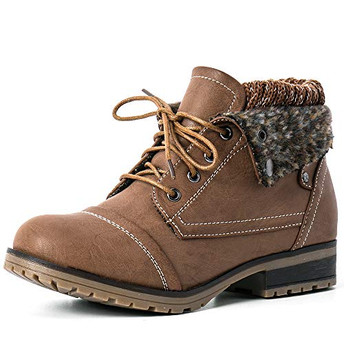 Moda Chics Womens Brown Boots Combat Style Lace-up Ankle Boo