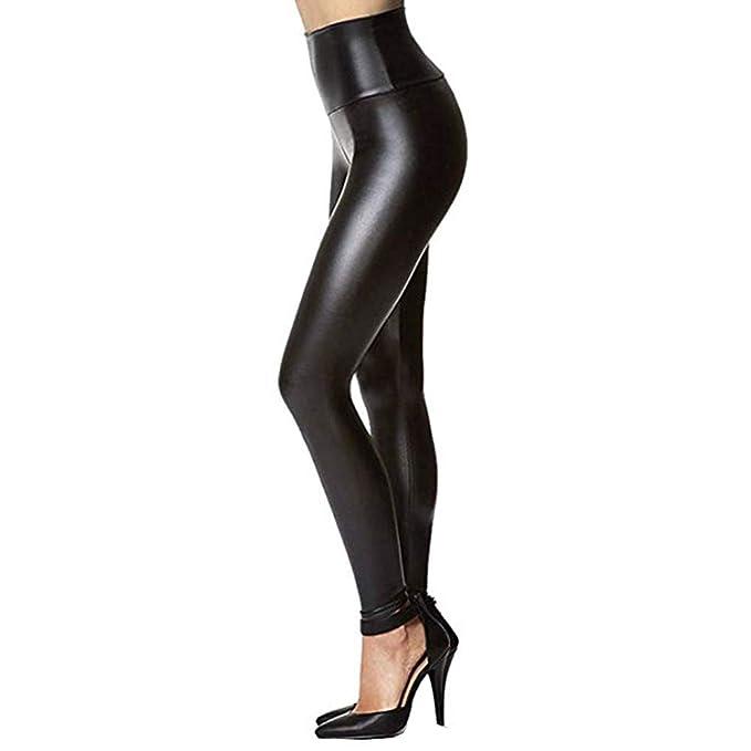 4af309754b Mujeres Leggins Cuero Skinny Elásticos Mujer Pantalones de Plisado Pantalón  Lápiz Elásticos Fitness Yoga Pantalones Alta Elasticidad de Moda Falsas  Cálido ...