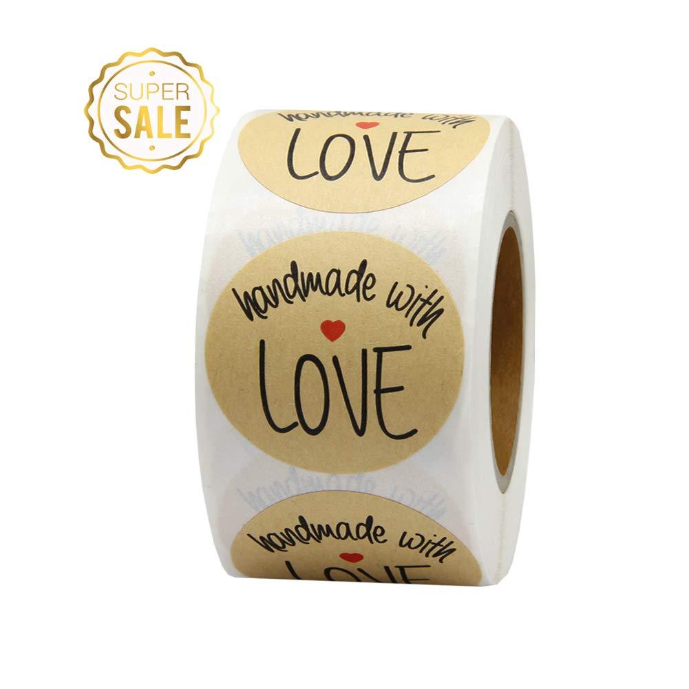 Hcode 3,8/cm Kraft Naturel Fait /à la main avec amour Stickers Noir avec code couleur /étiquettes Total 500//étiquettes adh/ésives par rouleau 1 roll