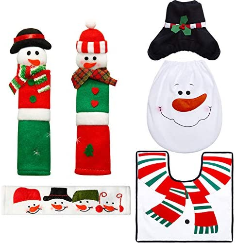 Boao 6 Pieces Snowman Refrigerator Handle Door Covers Christmas Decorations Set, Christmas Snowman Santa Toilet Seat Cover for Bathroom Kitchen Appliance Decorations