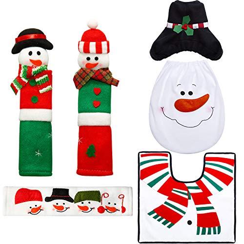 Boao 6 Pieces Snowman Refrigerator Handle Door Covers Christmas Decorations Set, Christmas Snowman Santa Toilet Seat…