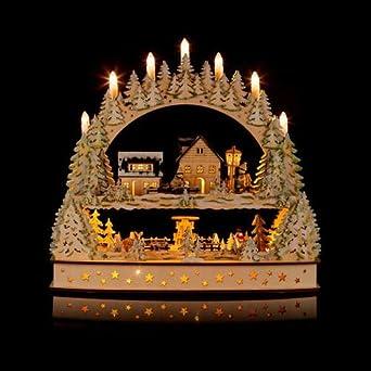 Hse24 Weihnachtsdeko.Grosser 3d Schwibbogen Winterlandschft Mit Led Beleuchtung Drehender Pyramide Und Timer Hochwertig Und Detailreich Verarbeitet