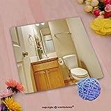 VROSELV Custom Cotton Microfiber Ultra Soft Hand Towel-classic half bathroom with hardwood floor and mirror Custom pattern of household products(14''x14'')