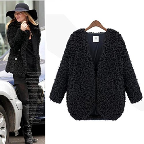 low priced 11379 ef835 Amison Moda Cool Nuove donne Lana Caldo Lungo Lungo Capelli Cappotto Giacca  Trench Giacca a vento Parka Outwear (XL, Nero)