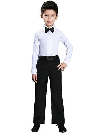 ef3e80b9 Inlefen Dance Men's Latin Top Boys Dance Leotard Costumes Modern Latin Ballroom  Dance Wear White Black