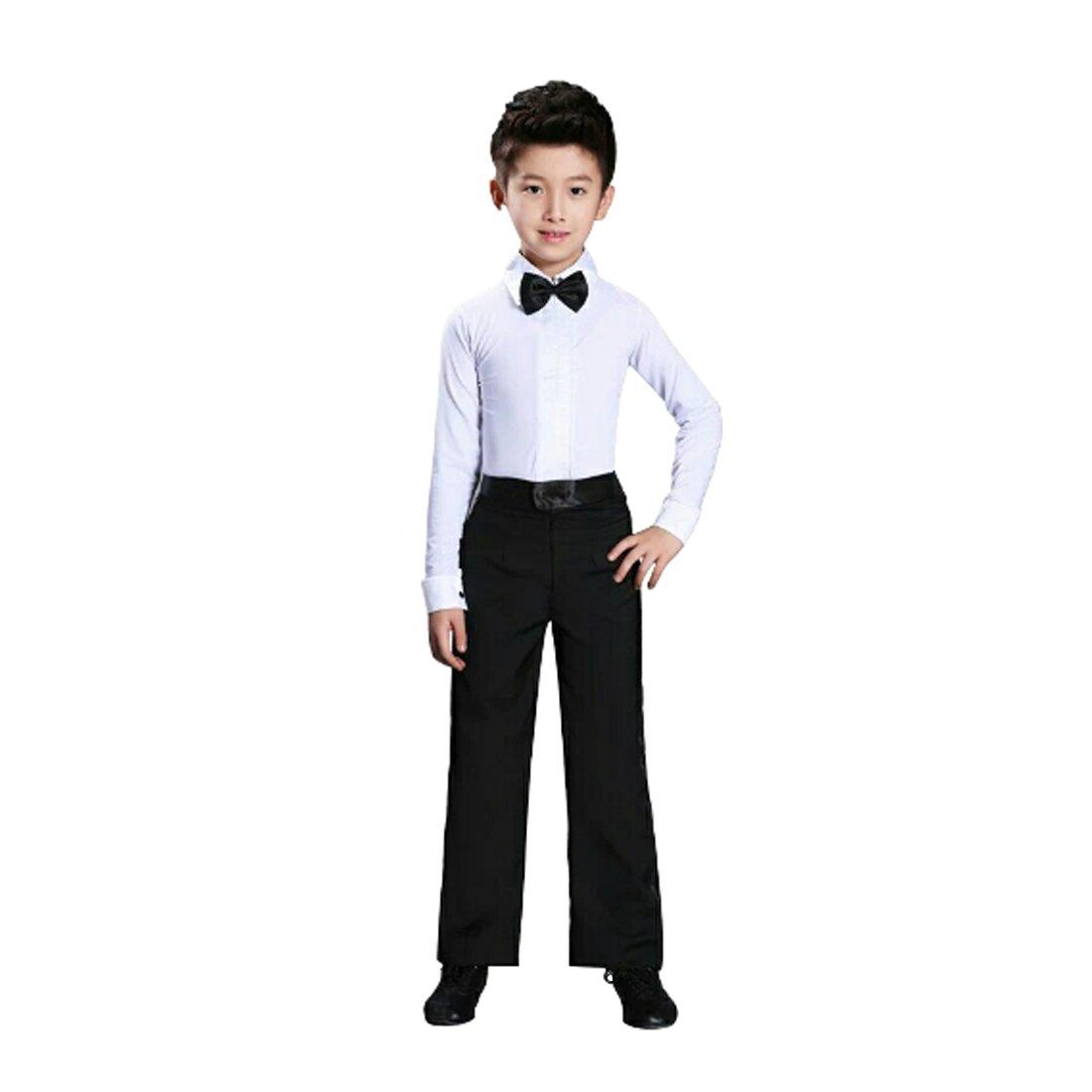 Yefree Dance Mens Latin Top Boys Dance Leotard Costumes Modern Latin Ballroom Dance Wear White Black