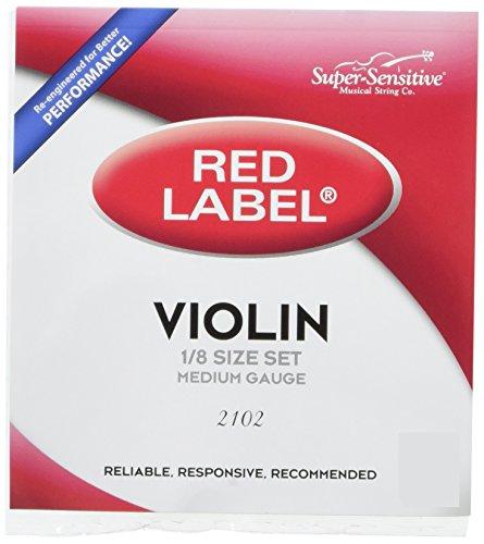 Super Sensitive Red Label 2102 Violin String Set, - 1/8 Labels