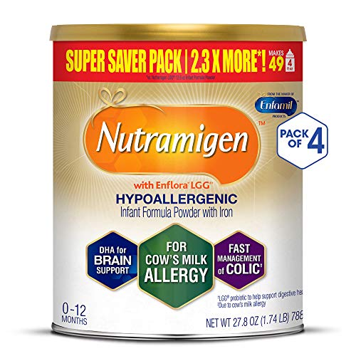- Enfamil Nutramigen Hypoallergenic Colic Baby Formula Lactose Free Milk Powder, 27.8 Ounce (Pack of 4) - Omega 3 DHA, LGG Probiotics, Iron, Immune Support