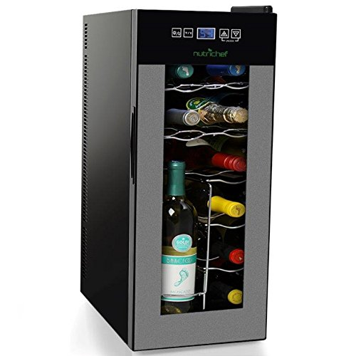 Nutrichef 12 Bottle Thermoelectric Wine Cooler Refrigerator | Red, White, Champagne Chiller | Counter Top Wine Cellar | Quiet Operation Fridge | Touch Temperature Control Review