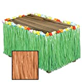 Luau Artificial Natural Grass Table Skirting [6 Pieces] - Product Description - Serve The Hawaiian Luau Buffet To Your Guests At The Party In Style By Decorating The Tables With This Artificial Grass Flowered Table Skirting. It Has A Natural Loo ...