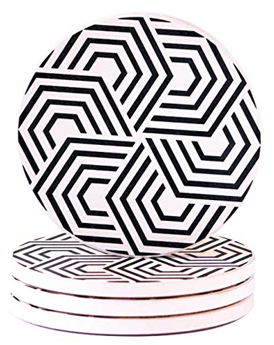 Absorbent Coasters For Drinks | Set of 4 Large Ceramic Stone Black and White | Use as Home Decor and Save. Geometric Pattern with Cork Base by Gremstone