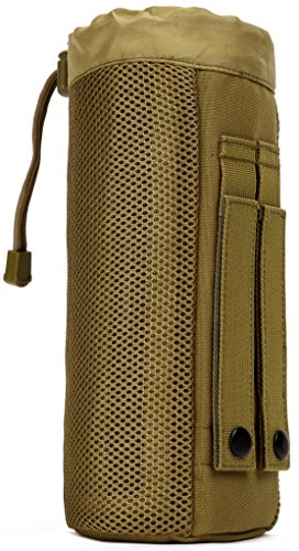 Carrier Nylon Bottle Mesh (ArcEnCiel Molle Water Bottle Outdoor Kettle Set Field Tactical Pocket Accessories Small Carrier Holder Bag (Coyote Brown))