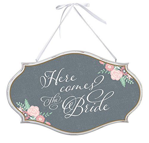 Lillian Rose Here Comes The Bride Oval Sign, 16 x - Oval Rose Plaque