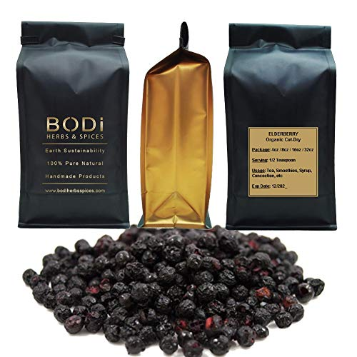 BODi Elderberry Berries Whole Dried 100 Pure Organic 4, 8, 16, 32 oz 32 oz