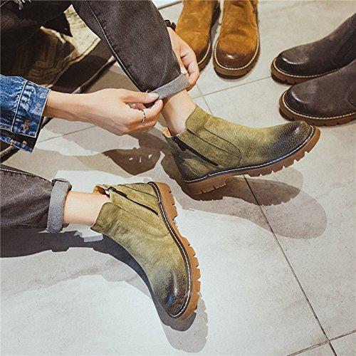 HL-PYL - Europäische und Amerikanische High Schuh Männer Schuhe Freizeit runden Kopf Reißverschluss Füße Leder Stiefel 43 Grün