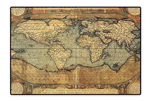 Perfect Kitchen Rugs 16Th Century Map of The World History Adventure Boundaries Cartography Civilization for Home and Office 4'7