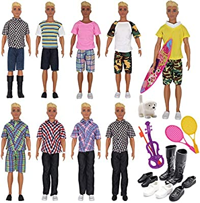 EuTengHao 25Pcs Doll Clothes and Accessories for Ken Dolls Includes 16 Different Wear Clothes Shirt Jeans,4 Pairs of Shoes for Barbie Ken Doll, Dog, 2 ...
