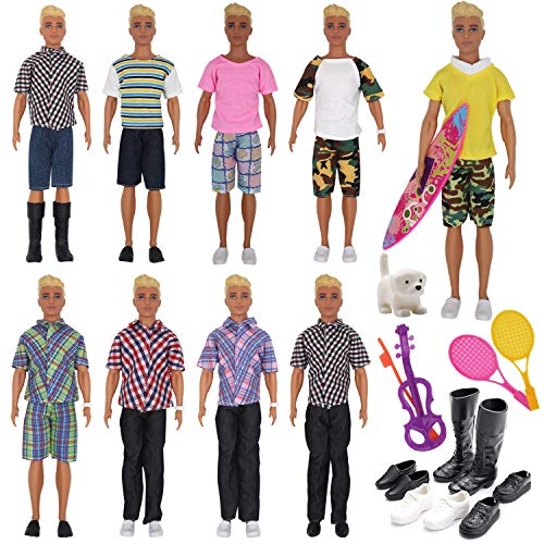 l Clothes and Accessories for Ken Dolls Includes 8 Different Wear Clothes Shirt Jeans,4 Pairs of Shoes for Barbie Ken Doll, 2 Tennis Racket, Dog, Violin and Surfboard for Xmas Gift ()
