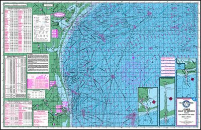 Topographical Fishing Map of the Lower Gulf of Mexico - With GPS Hotspots