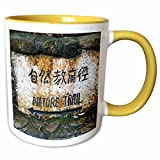 3dRose Danita Delimont - Signs - Hong Kong, Tai Po Kau Nature park trail marker. - 11oz Two-Tone Yellow Mug (mug_225589_8)