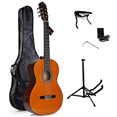 WINZZ 39 Inch Nylon String Student Classical Guitar with Smile Bridge, Bag, Tuner, Stand, Capo