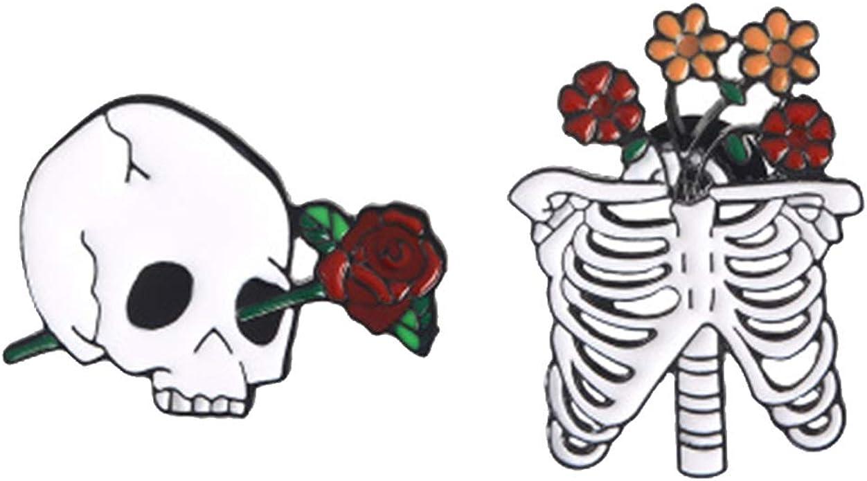Halloween Crow Skull Brooch