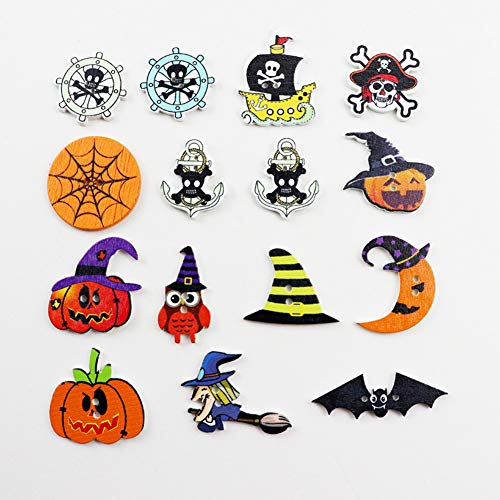 (Kids Priate Halloween Wooden Buttons with 2 Holes for DIY Hanmade Craft Scrapbooking Sewing Accessories (Halloween 100Packs))
