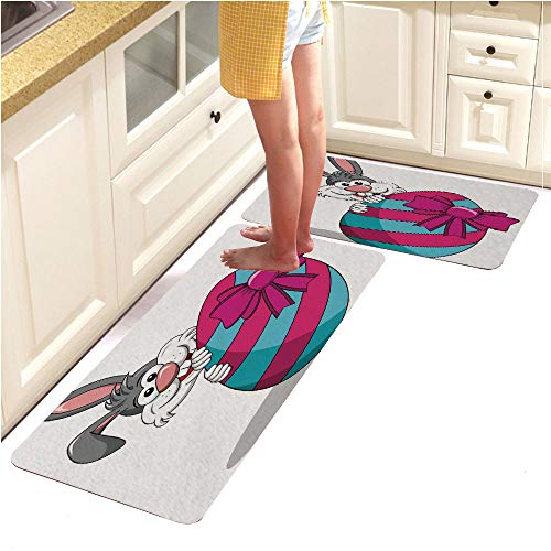 Kitchen Mat,Decorative Non-Slip Microfiber Doormat Bathroom Mats Rugs,Cute Rabbit or Bunny peek a Boo Behind Painted Egg with Bow Isolated (18