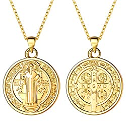 U7 Women Girls 18k Gold Plated 925 Sterling Silver 1 5mm Dainty Chain Coin Saint Benedict Pendant Necklace