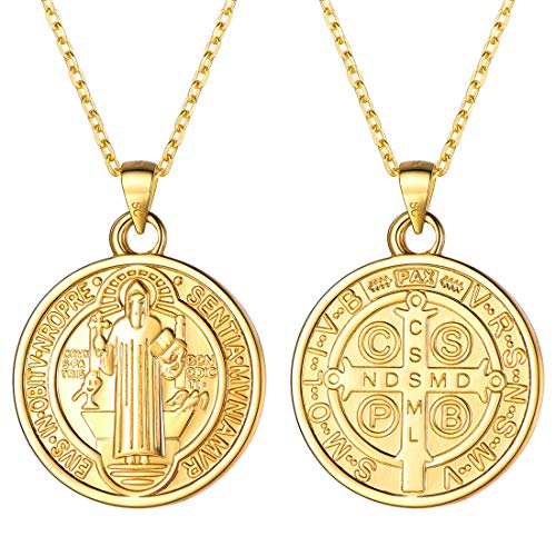 (U7 Women Girls 18K Gold Plated 925 Sterling Silver 1.5mm Dainty Chain & Coin Saint Benedict Pendant Necklace)