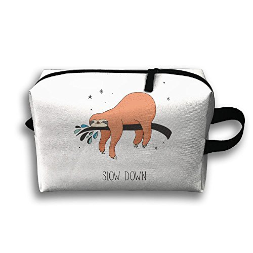 (Sloth Slow Down Travel Bag Cosmetic Bags Brush Pouch Portable Makeup Bag Zipper Wallet Hangbag Pen Organizer Carry Case Wristlet)