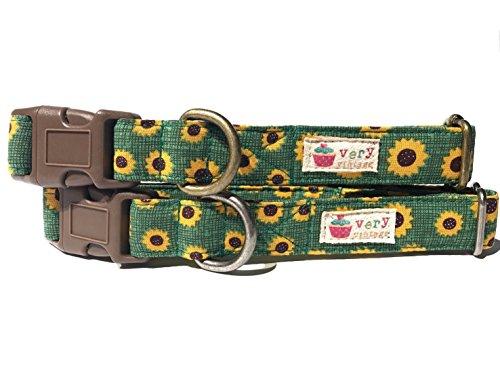Sunflower Field - Grass Green Yellow Autumn Sunflowers Flowers Fall Organic Cotton Pet Collar by Very Vintage