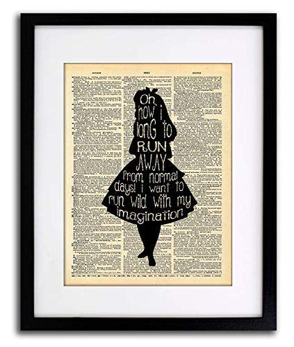 Alice in Wonderland Imagination Quote Vintage Dictionary Art Print 8x10 inch Home Vintage Art Abstract Prints Wall Art for Home Decor Wall Decorations For Living Room Bedroom Office Ready-to-Frame