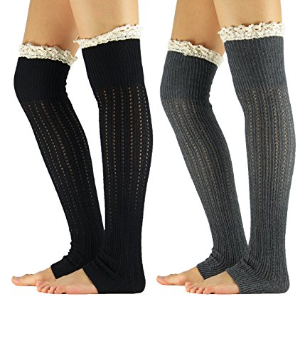 Zando Womens Knitted Lace Trim Boot Cuffs Socks Crochet Long Leg Warmers A-2 Pairs-Black&Dark Grey