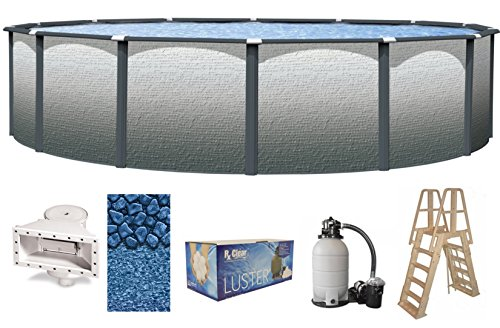 Wilbar Reprieve Slate 27 Foot x 52 Inch Round Above-Ground Complete Swimming Pool Kit-Bundle Includes Liner Skimmer Ladder Pump and Filter by Wilbar