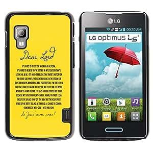 PC/Aluminum Funda Carcasa protectora para LG Optimus L5 II Dual E455 E460 BIBLE Dear Lord / JUSTGO PHONE PROTECTOR