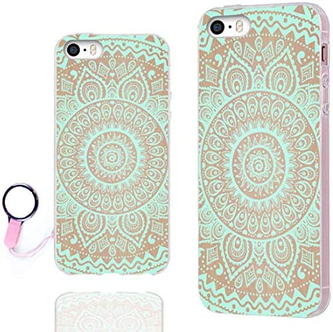 ChiChiC iPhone 5S Case,iPhone 5 case,iPhone SE case, Full Protective Stylish Case Slim Durable Soft TPU Cases Cover for iPhone 5 5g 5S SE,White Flower Blossom Magnolia Almond on Green Emerald Floral