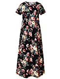 Perfashion Girls Black Pleated Fit and Flare Maxi Dress with Pockets, Black Floral, 12-13 Years/Height:62in