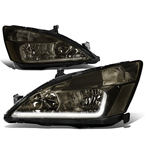 (For Honda Accord 7th Gen UC1 Pair of Smoked Housing Clear Corner Headlights + LED DRL)