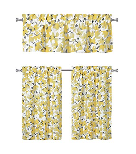 - Floral Yellow Grey Kitchen Curtains: One (1) Valance and Two (2) Tiers Set, Rod Pocket Design