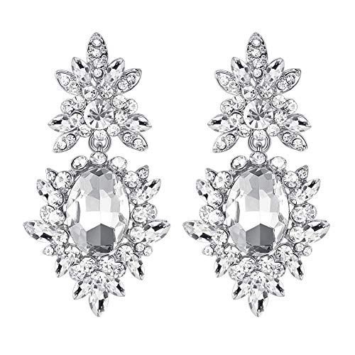 mecresh Silver Crystal Flower Teardrop Bridal Wedding Dangle Drop Earrings