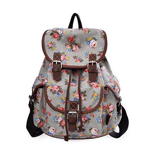 Lt Tribe Casual Floral Canvas Bag School College Backpack for Girls Gray G00163