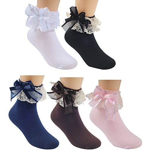 (Deer Mum Girls Cute Princess Style Lace Top Dress Socks Set1 M(3Y-5Y))