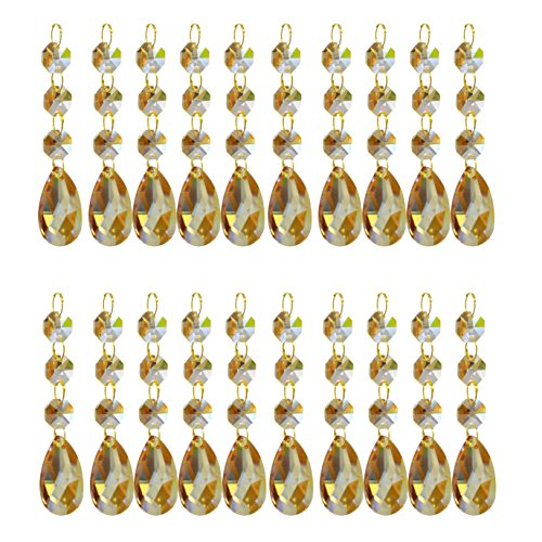 Amber Triangle Pendant (SuZhi 20 Pack Crystal Teardrop Chandelier Prisms Pendants Parts Beads (Amber))
